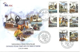 Turkey; 2014 FDC Regular Stamps With The Subject Of Tourism - FDC
