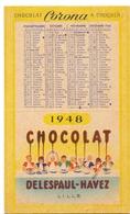 Kalender Calendrier - Pub Reclame Chocolat Corona - Delespaul - Havez - Lille - 1948 - Calendriers