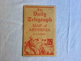 """RARE ANTIQUE AFRICA ETHIOPIA ERITREIA """" THE DAILY TELEGRAPH MAP OF ABYSSINIA"""" MAP BOOKLET - Cartes Géographiques"""