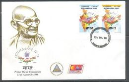 Nicaragua 1998 FDC With Few Yellow Spots, Gandhi On Fdc Rare, India Map - Mahatma Gandhi