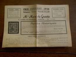 Folder  Prix - Courant 1956   M .  Marc De Groote - Autres