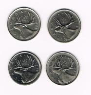 =&   CANADA  4 X 25 CENTS 1972/74/78/85 - Canada