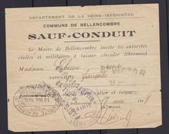 SAUF CONDUIT  17 Mai 1918  COMMUNE DE BELLENCOMBRE Seine Inférieure  ( Paiement Paypal Possible ) - Documents Historiques