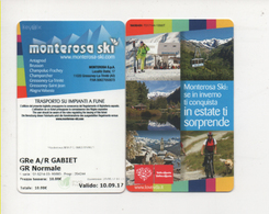 Alt1061 Skipass Area Monterosa Ski Funivia Cablecar Téléphérique Gabiet Champoluc Gressoney Alagna Estate Inverno Sci - Winter Sports