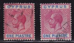 CYPRUS 1912-1915 King George V One Piastre Red / Blue + Carmine / Blue WM CA Mulptiple Vl. 70 - 70 A - Cyprus (...-1960)