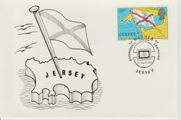 Jersey Carte Maximum 1976 Carte Et Drapeau 143 - Jersey