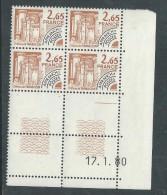 France Préoblitéré N° 169 XX Monuments Historiques : 2 F. 65 En Bloc De 4 Coin Daté Du 17 . 1. 80 ; 1 Trait, Ss Ch. TB - Vorausentwertungen