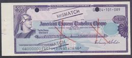 American Express Travelers Cheque US$500, MISMATCH NUMBER ERROR - Assegni & Assegni Di Viaggio