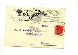 Carte Cachet Valencia Sur Roi + Florence  Illustré Machine Agricole - Marcofilie - EMA (Print Machine)