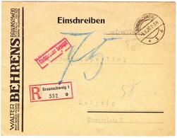 1926 Unfrankierter R-Brief Aus Braunschweig Nach Leipzig; Stempel: Nachgebühr Bezahlt; Rückseitig Spruch Von Henri Ford - Brieven En Documenten