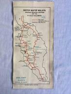 ANTIQUE SKETCH MAP OF MALAYA F.M.S. RAILWAYS BROCHURE FRAGMENT 30'S - Cartes