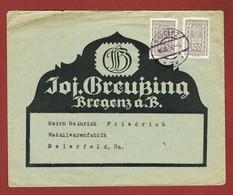 Infla Ab 18 Sept. 1922 Brief Ersttag  Bregenz - Bielefeld - 1918-1945 1ra República