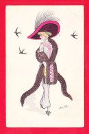 Illust-1927Ph67 X. SAGER Une élégante Avec Une Grande écharpe De Fourrure, Cpa - Sager, Xavier