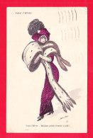 Illust-1928Ph67 X. SAGER  Voici L'hiver, Une élégante Avec Manchon De Fourrure, Cpa - Sager, Xavier
