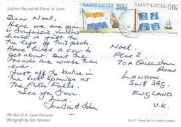 St Lucia 2004 Squeriepe Dutch Gun Ship French Brig Viewcard - St.Lucia (1979-...)