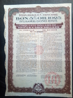 Lot 12 BON 5% OR CHINOIS 1925 + Coupons (Annulé-Perforé) - Aandelen