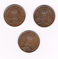 =&  NEDERLANDSE ANTILLEN  3 X  2  1/2 CENTS  1974/77/78 - Antilles Neérlandaises