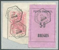 50centimes Rose Obl. Hexagonale SCHAERBEEK (CENTRAL) Du 15 Mai 1891 (heure Bloquée) Sur Fragment De Bordereau Avec étiqu - Briefe & Fragmente