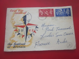 THE FESTIVAL OF BRITAIN Europe Grande-Bretagne  FDC FIRST DAY COVER  ....-1951 Pre Elizabeth II-pour Loches Sur Ource 10 - FDC