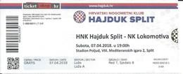 Sport Ticket UL000434 - Football (Soccer / Calcio) - Hajduk Split Vs Lokomotiva Zagreb: 2018-04-07 - Tickets & Toegangskaarten