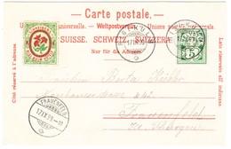 1899 Schreiber`s Rigi Kulm Hotel Nach Frauenfeld; Mit Ungebrauchter Hotelpostmarke; Ein Zahn Fehlt - Lettres & Documents