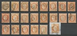 1870 – N°38 - Orange - 40 C.- SIEGE DE PARIS - LOT De 22 Exemplaires Pour études: Nuances, Oblitérations ... - 1870 Besetzung Von Paris