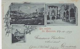 GEMONA-UDINE-UN SALUTO DA GEMONA-CARTOLINA TIPO GRUSS-TRE  VEDUTINE-VIAGGIATA IL 29-10-1899 - Udine