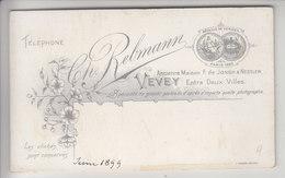 VEVEY - CH. REBMANN, PHOTOGRAPHE - 1899 . - Cartes De Visite