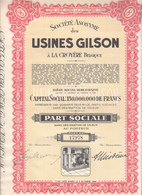 Usines Gilson à La Croyère Belgique, Bois D'Haine Part Sociale - G - I