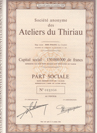 Ateliers Du Thiriau à La Croyère Belgique, Bois D'Haine Part Sociale - Shareholdings