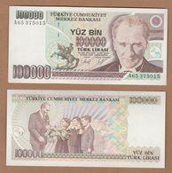 AC - TURKEY- 7th EMISSION 100 000 TL A UNCIRCULATED - Turquie