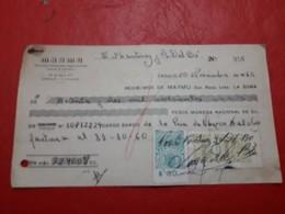 Argentina Cheque Bancario De Cordoba Con Sellos Fiscales 1960 - Oficiales