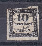 TAXE 10 CTS NOIR TYPOGRAPHIE - COTE 20 EURO - 1859-1955 Oblitérés