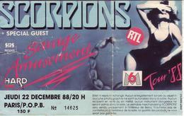 - Ticket De Concert - Scorpions - Paris - Bercy - 1988 - - Concert Tickets