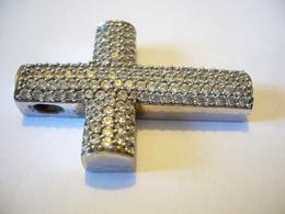 SilberKreuz Mit Rund Fac. Edelsteinen (570) - Anhänger