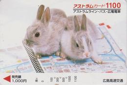 Carte Japon - ANIMAL - LAPIN Lapins Sur Classeur 1100 - RABBIT Japan Prepaid Card - Kaninchen Konijn - FR 256 - Konijnen