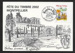 CACHET TEMPORAIRE 2002 FETE DU TIMBRE MONTPELLIER(34) SUR CP  BOULE ET BILL R/V - France