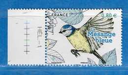 Francia ** -2018 - Les Oiseaux De Nos Jardins, La Mésange Bleue. Bord De Feuille .MNH.  Vedi Descrizione - Francia