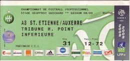 - ASSE - Billet D'entrée Stade Geoffroy Guichard - AS ST Etienne / Auxerre - Saison 08/09 - - Tickets - Entradas