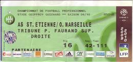- ASSE - Billet D'entrée Stade Geoffroy Guichard - AS ST Etienne / O. Marseille - Saison 09/10 - - Football