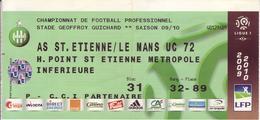 - ASSE - Billet D'entrée Stade Geoffroy Guichard - AS ST Etienne / Le Mans UC 72 - Saison 09/10 - - Football