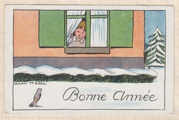 8AK2594 ILLUSTRATEUR ANDRE HELLE BONNE ANNEE ENFANT A LA FENETRE  2 SCANS - Autres Illustrateurs