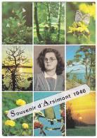 Souvenirs D'Arsimont. Montage Photographique: Photo D'une Jeune Femme Au Centre D'une Carte Faune Et Flore De Finlande - Souvenir De...