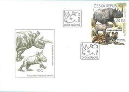 FDC 896 Czech Republic Nature Protection: Zoological Gardens I -rhino And African Wild Dog 2016 - Rhinozerosse