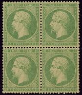 ** No 20b, Vert Jaune Sur Verdâtre, Bloc De Quatre, Très Frais Et Centré. - TB - 1862 Napoleon III