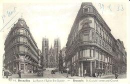 CPA - Belgique - Brussels - Bruxelles - La Rue Et L'Eglise Ste-Gudule - Lanen, Boulevards