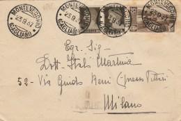 LETTERA 1937 CON 2X10 CENT +30 CENT. ASS.INFANZIA TIMBRO MONTEVECCHIO CAGLIARI (Z52 - Marcophilia