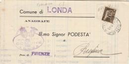 LETTERA 1940 CON 5 CENT IMPERIALE TIMBRO LONDA -ANAGRAFE (Z67 - 1900-44 Victor Emmanuel III
