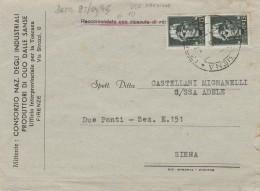 RACCOMANDATA 1945 CON 2X15 CENT. USI TARDIVI LUOGOTENENZA TIMBRO SIENA (Z121 - Storia Postale