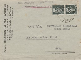 RACCOMANDATA 1945 CON 2X15 CENT. USI TARDIVI LUOGOTENENZA TIMBRO SIENA (Z121 - 1900-44 Vittorio Emanuele III